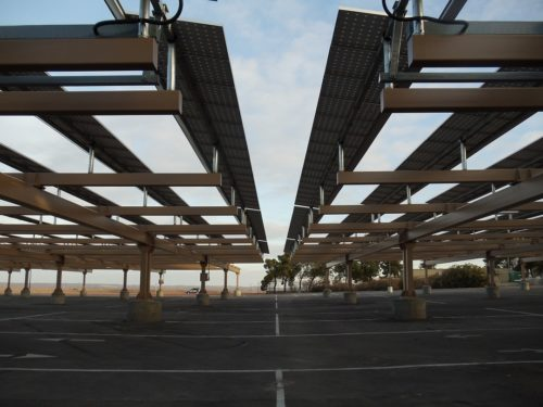 solar parking lot at Bakersfield College