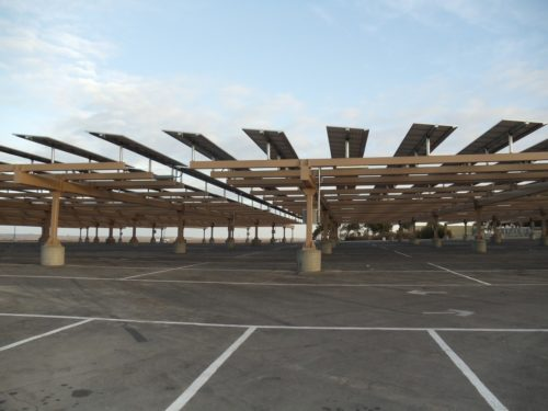 Solar carport structure at BC parking lot