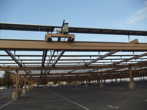 Commercial solar panel carport at Bakersfield College
