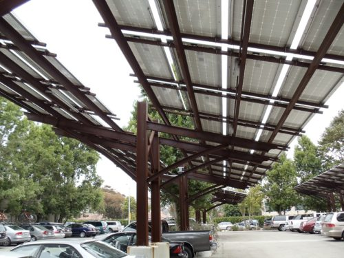 Patagonia double cantilever carport underside