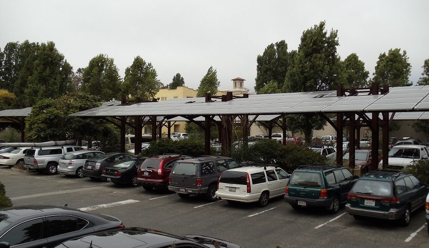 Patagonia carport with solar panels row at Patagonia Company