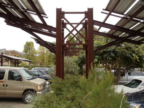 Patagonia carport with solar panels steel structure project
