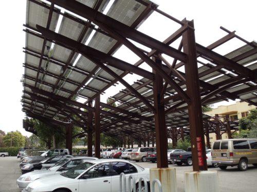 Patagonia solar carport double cantilever design