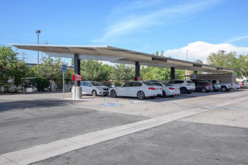 standard double cantilever solar carport, solar covered parking at Imbibe parking lot