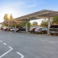 galvanized structure single cantilever commercial solar canopy filled with cars