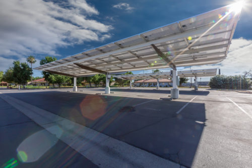 inverted cantilever commercial solar carport under view at San Joaquin High School