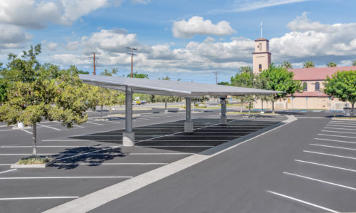 double cantilever commercial solar carport project over church parking lot