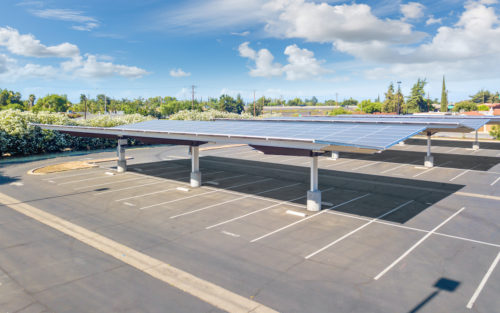 inverted cantilever commercial solar panel canopy at San Joaquin High School