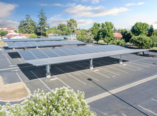 inverted cantilever commercial solar carport solar panel canopy at San Joaquin High School