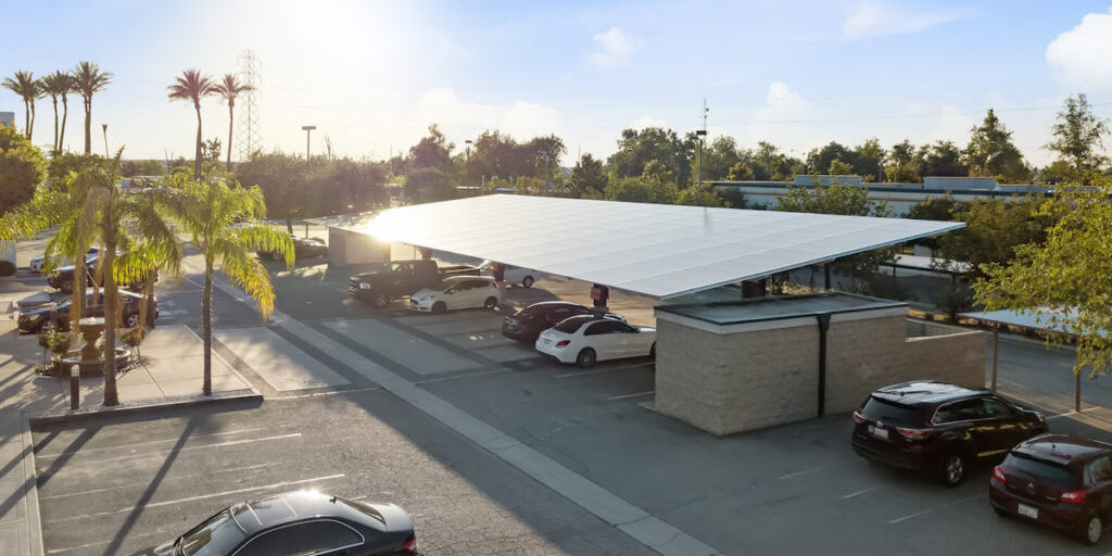 standard double cantilever solar covered parking at Imbibe Wines